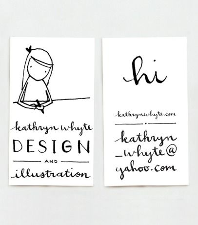 sweet illustrated business cards, business card, graphic design, visual identity, illustration, funny