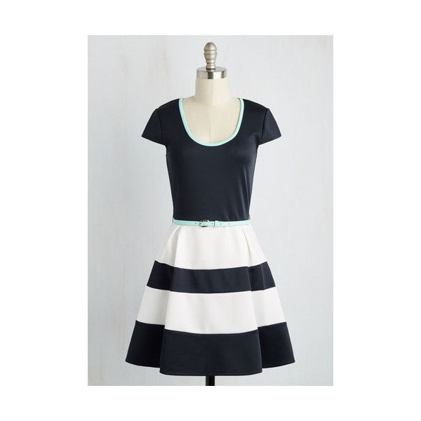 Nautical Short Length Cap Sleeves Fit & Flare Major Course of Stunning... (£35) ❤ liked on Polyvore featuring dresses, apparel, blue, fashion dress, short cocktail dresses, short fit and flare dress, blue a line dress, cap sleeve cocktail dress and blue striped dress