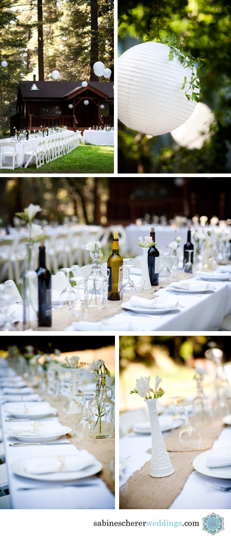 Natural white and burlap tables. I like the idea of wine bottles as part of the centerpieces, maybe have party favors be wine openers and have them be full to drink?!