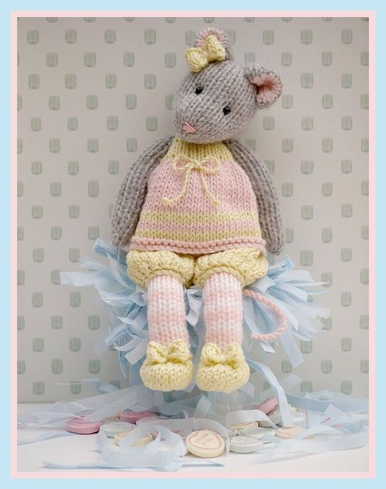 "MJT Little Gems 1 ""Tearoom Mice"" Pdf/ Email Toy Knitting Pattern NEW"