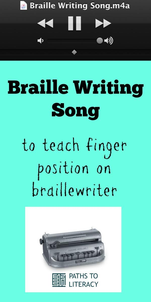 64 best writing skills images on pinterest writing skills blind this braille writing song helps to teach proper finger position on a brailler ccuart Images