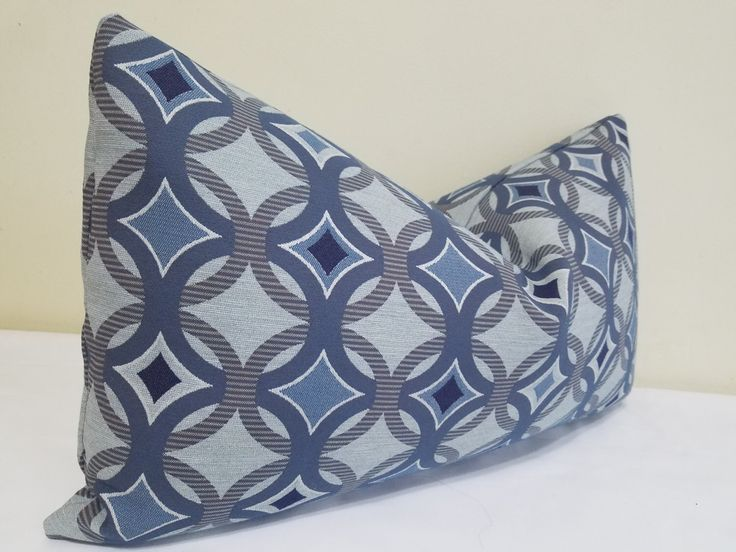 Sunbrella Lumbar  Pillow Cover in blue Gray and Blue - Indoor/Outdoor Sunbrella Pillow- Deck Pillow Cover, Outdoor Cushion 14 x 24 by ZourraDesigns on Etsy https://www.etsy.com/listing/459865030/sunbrella-lumbar-pillow-cover-in-blue