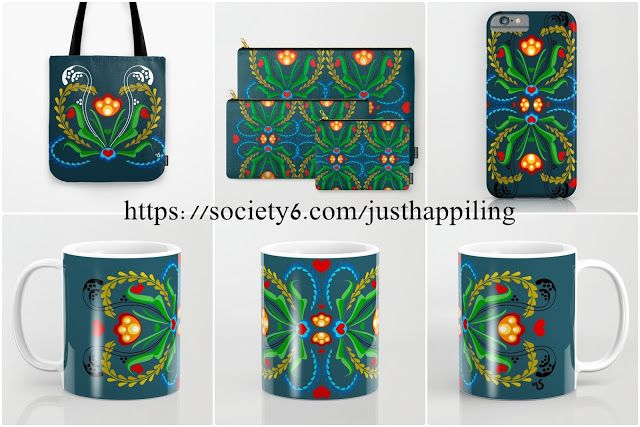 Scandinavian Folk Art ~ Tulip. Home Decor ideas, and accessories with blue background.   Home Decor, Bedding, Bath Mat, Rug, Throw Pillows, Floor Pillows, Tapestries, Wall Art, Wall Clocks, Tote bags, Shower Curtains, Coffee Mugs, Travel Mugs, Apparel, Throw Blankets, and More