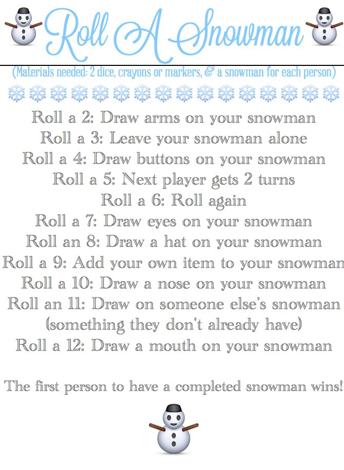 Roll-A-Snowman Game & Printable