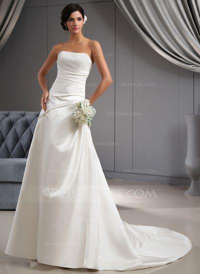 Wedding Dresses - $170.49 - A-Line/Princess Sweetheart Chapel Train Satin Wedding Dress With Ruffle Beadwork (002022673) http://jjshouse.com/A-Line-Princess-Sweetheart-Chapel-Train-Satin-Wedding-Dress-With-Ruffle-Beadwork-002022673-g22673