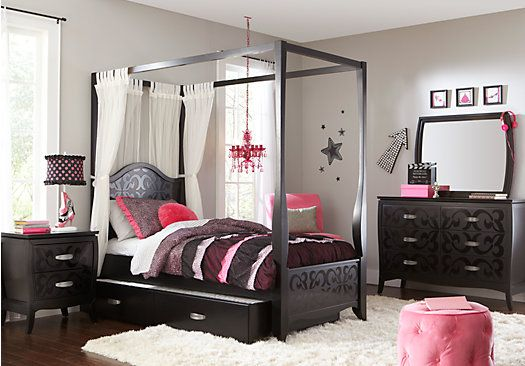 Belle Noir Dark Merlot 6 Pc Full Canopy Bedroom 1 379
