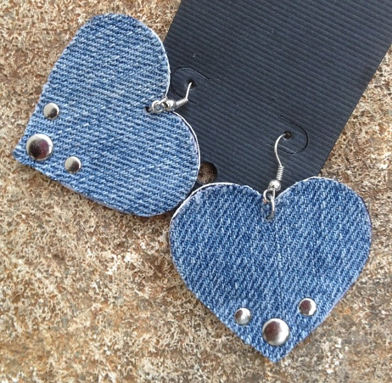 studded DENIM and leather HEART earrings by whackytacky.com on Etsy, $15.00