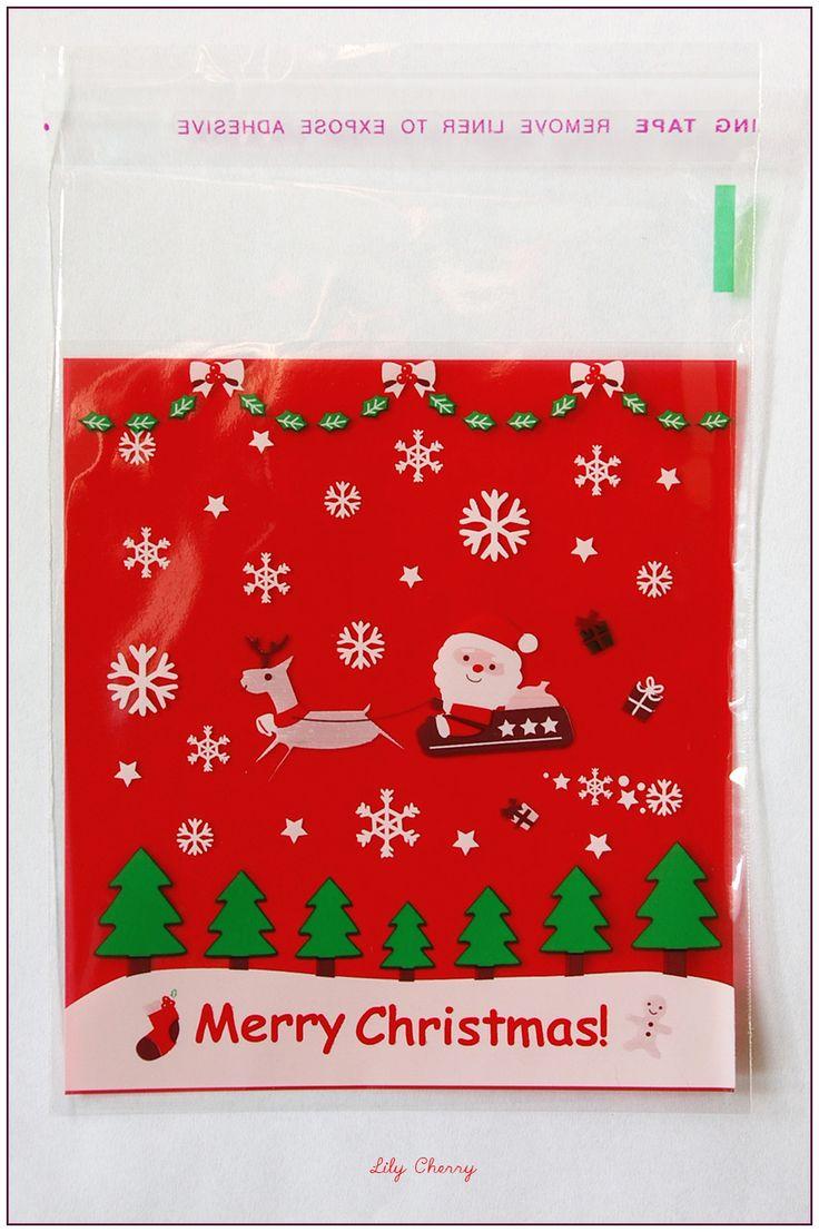 Petit sachet plastique MERRY CHRISTMAS sac bonbons, friandises, cadeaux noël père noël x1 : Emballages, paquets cadeaux par lilycherry