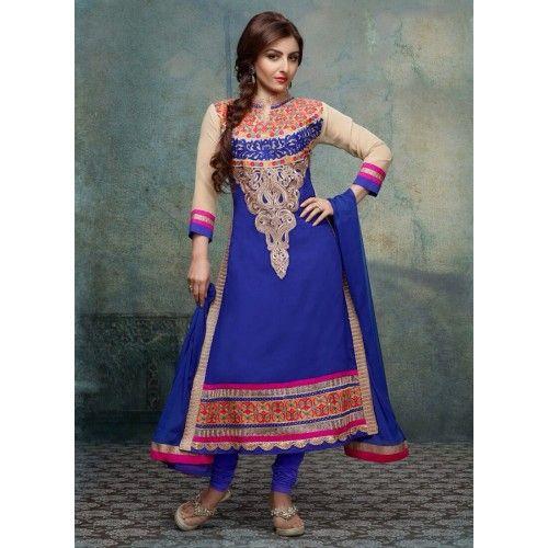 Product Description  Item Code: : 6935   Celebrity : Soha Ali Khan   Occasion : Festival Reception   Color : Blue   Fabric : Georgette Work : Resham Lace   Catalog No. : 3100