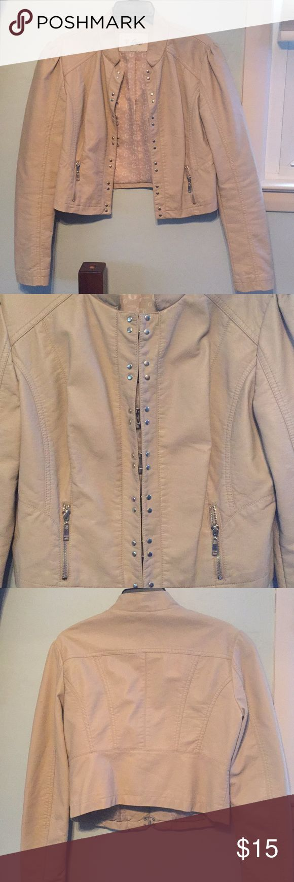 Guess tan jacket Jacket with 2 zipper pockets and decorative silver clasps. Guess Jackets & Coats Jean Jackets