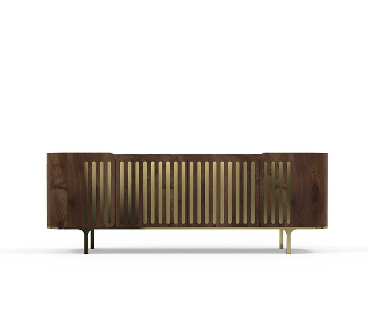 A stunning polished marble top is held by a solid walnut structure with golden brass details. Anthony Sideboard brings a playful geometric pattern on its doors, creating a unique contrast between the glossy gold and the dark walnut wood.