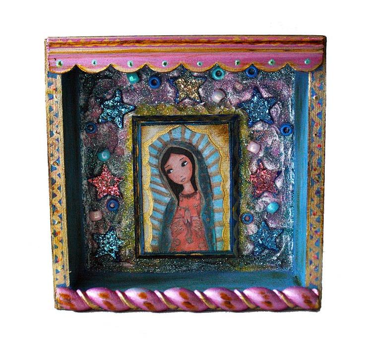 Virgen de Guadalupe -   Mixed Media 3-D Nicho Shrine Wall Retablo Art  Folk Art by FLOR LARIOS. $65.00, via Etsy.