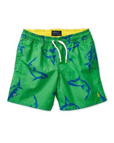 Shark Swim Trunks, Green, Size 9-24 Months
