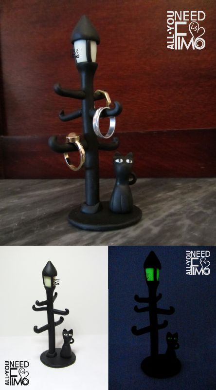 Porta anelli fimo, lampione, gatto, fluorescente, gatto nero, ring holder fimo, polymer clay, black cat, light lamp, luminescent, fluorescent, fluo, jewel case