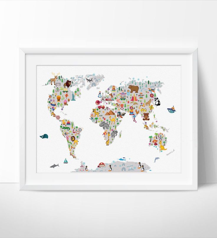 Kids World Map Wall Art Map Poster