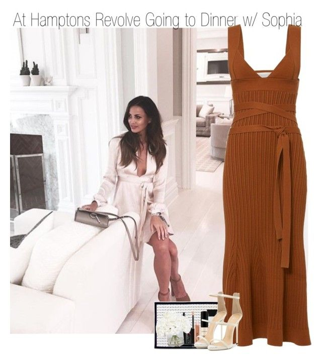 """At Hampton's Revolve Going to Dinner with Sophia"" by elise-22 ❤ liked on Polyvore featuring Victoria Beckham, Smashbox, Giuseppe Zanotti, Ethan Allen, Dinner, Revolve, hamptons and sophiasmith"