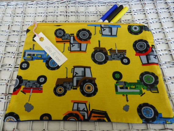 Large Boys Pencil Case // Gadget Bag  Farm/Tractor by ollieandroo, £8.50