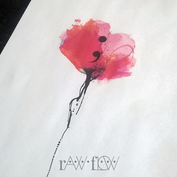 Semicolon tattoo design with watercolor and ink... - RawFlow | therawflow