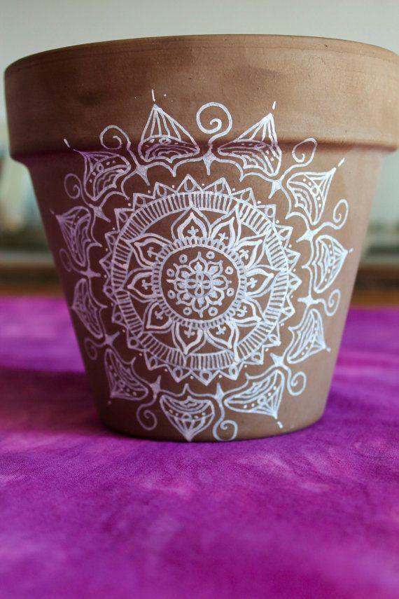 Mandala de pote de flor por Yandalla en Etsy