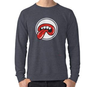Lightweight Sweatshirt @redbubble IT IS NOT ROLLING STONES RELATED A big mouth with four teeth and a tongue reminds of The Rolling Stones logo but it's badly drawn and much more dirty. An omage, a tribute to the greatest band in the world. #rollingstones #tongue #fashion #cool #love #badlydrawn #red #white #keith #richards #mick #jagger #1962 #logo #pattern #music #rock #roll #alternative #fake #tribute #multiverse #summer #concert #parallel #universe #psichedelic