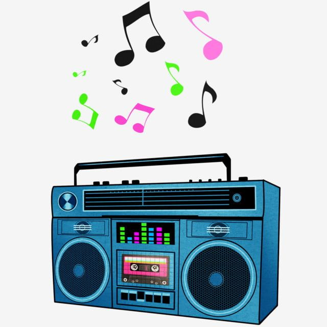 Boombox With Multi Colored Musical Notes Png And Psd Music Clipart Clip Art Retro Music