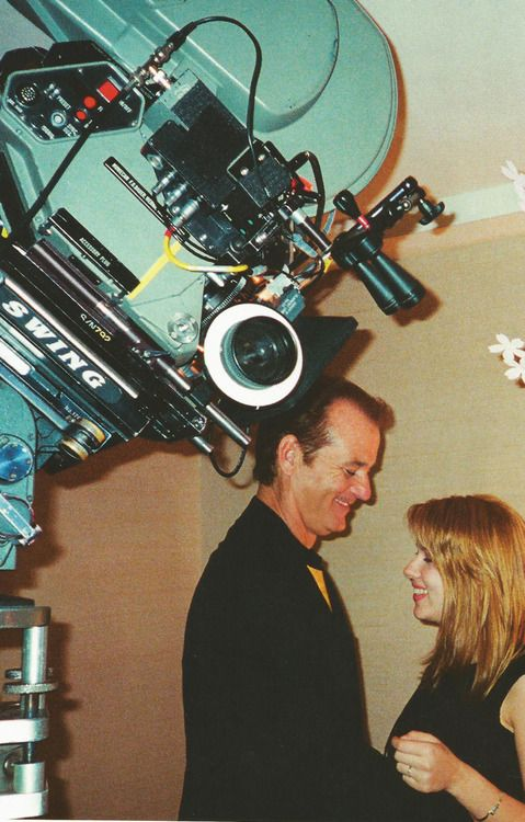 Behind the scenes of 'Lost in translation'. Bill Murray and Scarlett Johansson. Pic by Sofia Coppola.