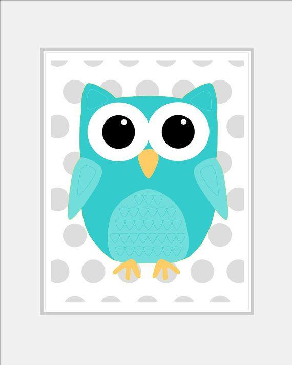 Baby Girl Owl Nursery Wall Art Aqua Owl by SilverPenguinPrints