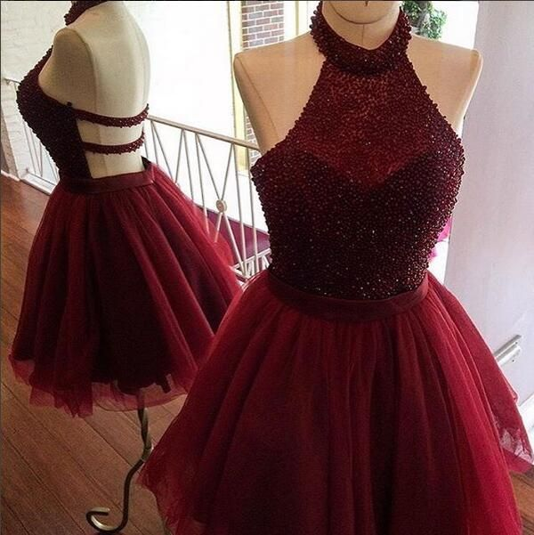 Burgundy homecoming dress,a line homecoming dress,halter party dress,beading