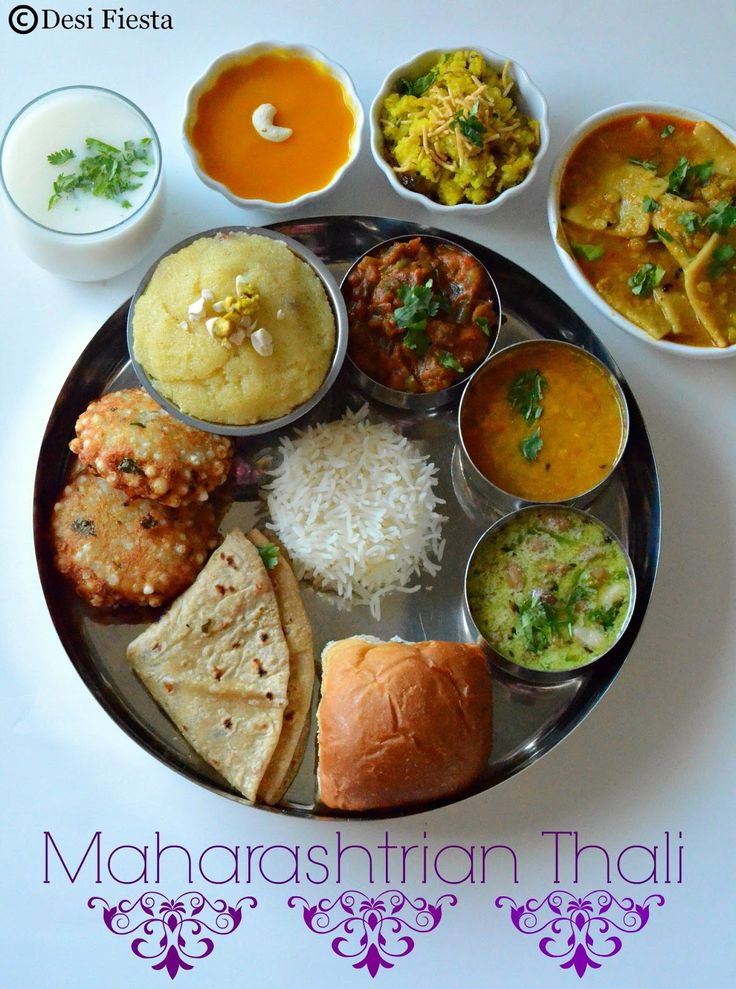 Vegetarian Thali Lunch Dinner Dish From Maharashtra India
