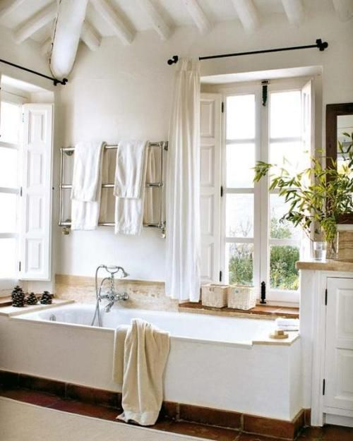sunken bath by french window: Big Window, Bathroom Design, Modern Bathroom, Bathtubs, Rustic Bathroom, Master Bath, White Bathroom, Bathroom Interiors Design, Design Bathroom