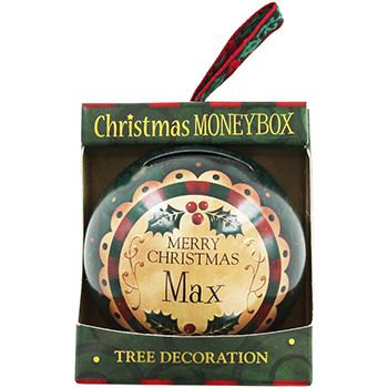 Personalised Money Box Bauble - Max | Money Boxes at The Works