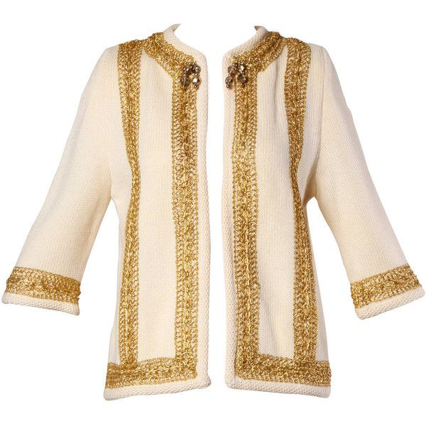 Pre-owned Ethel Beverly Hills 1960s Vintage Wool Cardigan Sweater with... (5 750 UAH) ❤ liked on Polyvore featuring tops, cardigans, sweaters, beaded top, metallic cardigan, pink cardigan, cream top and vintage beaded top