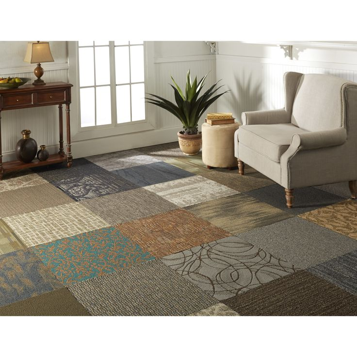 Mixed Carpet Tiles give an eclectic quilt look.