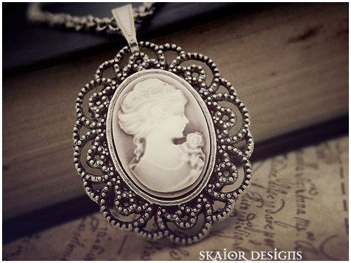 Victorian Portrait Necklace Gothic Cameo Jewellery by skaior, $28.00
