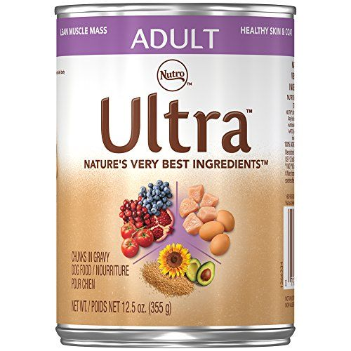 NUTRO ULTRA Adult Chunks in Gravy Canned Dog Food, 12.5 Ounce Cans (Pack of 12); Rich in Nutrients and Full of Flavor; Supports Healthy Joints & Healthy Skin and Coat - ULTRA Canned Dog Food is made with wholesome, natural ingredients to support vital functions and active lifestyles. This premium wet dog food is rich in essential nutrients, including a perfect combination of three lean proteins from chicken, lamb, and salmon to ensure optimal amino acid levels. ...