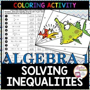 FREEBIE! Solving Inequalities Coloring Activity Students will solve 18 algebraic…