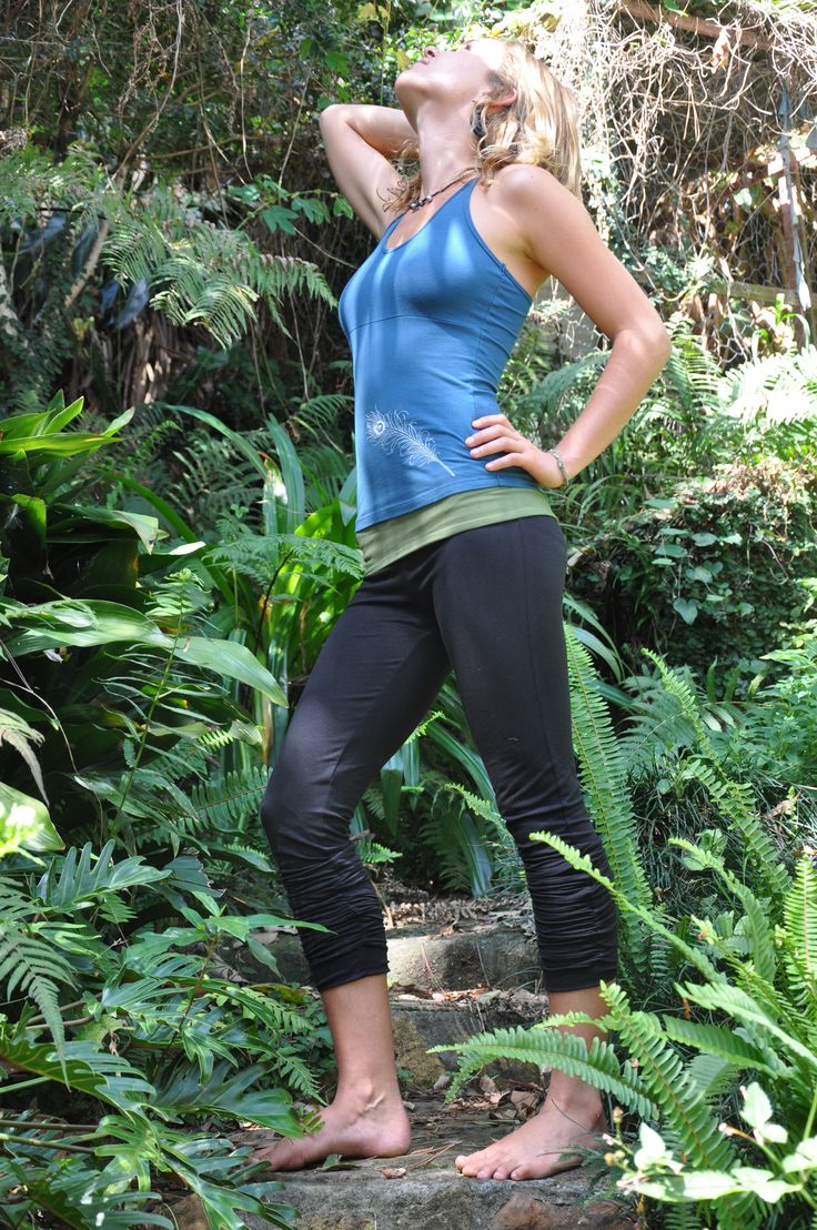 Blue Peacock Top with Long Yoga Pants (black with green) - Check out our whole range on www.fullcirclelifestyle.com.au