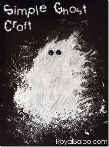 Simple Ghost Craft made with just white paint and googly eyes - very effective Halloween art for little children.