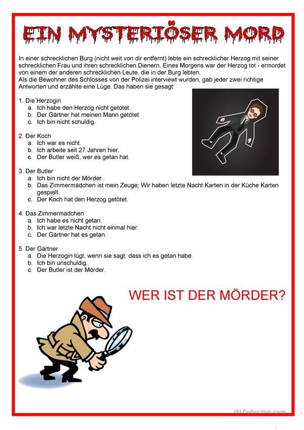 Kriminalität - Ein mysteriöser Mord | german | Pinterest | Worksheets