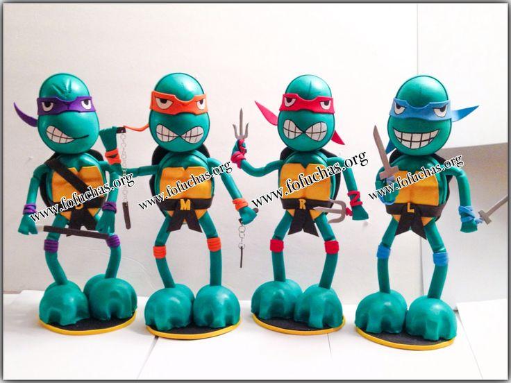 TMNT fofucha dolls.  100% handmade can make a great centerpiece for a Super TMNT party. Visit is at www.facebook.com/fofuchashandmadedolls  #birthdayideas #TMNT #centerpiece