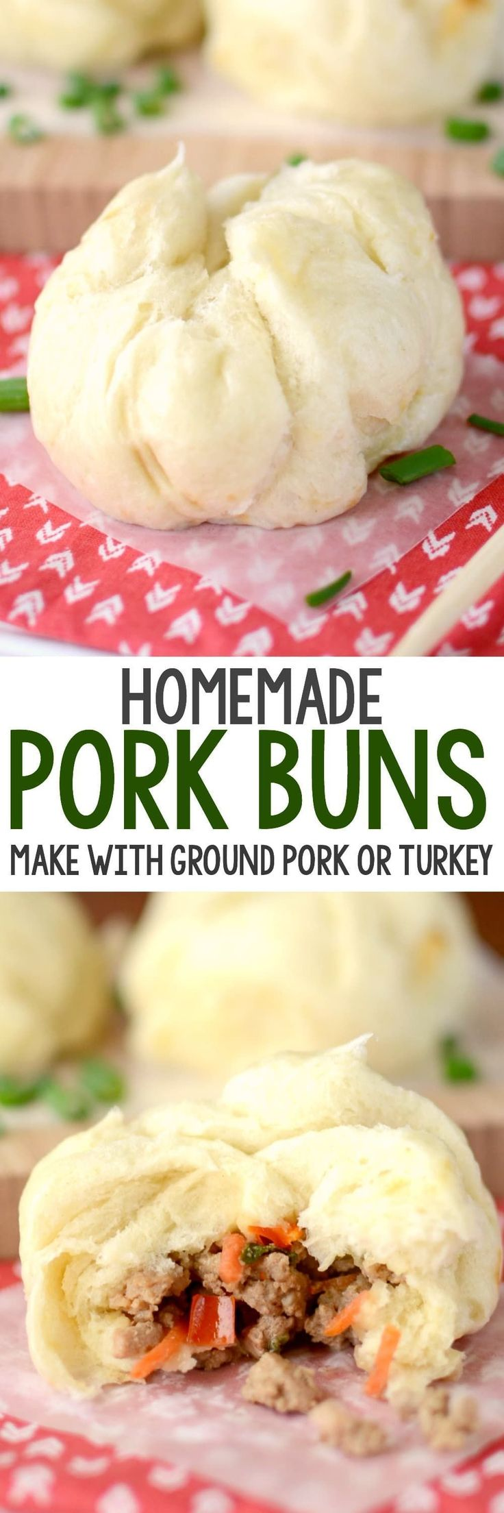 Homemade Pork Buns are better than takeout! This EASY recipe makes your favorite Chinese food at home using ground turkey or pork. We love these! #chinesefoodrecipes