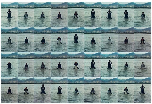 Printing on Water (Performance in the Lhasa River, Tibet, 1996) 印水, 1996, by Song Dong