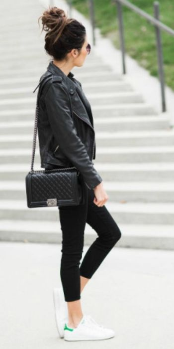 Christine Andrew + black biker leather jacket + black cropped skinny jeans + classic white leather trainers + black quilted Chanel bag.  Jacket: All Saints, Jeans: Nordstrom, Top: Ily, Trainers: Adidas, Bag: Chanel. Spring Outfits