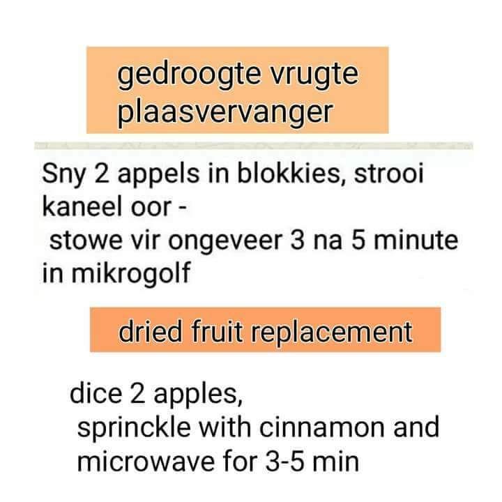 28 Dae Dieet | Gedroogte Vrugte vervang met gestoofde Appel