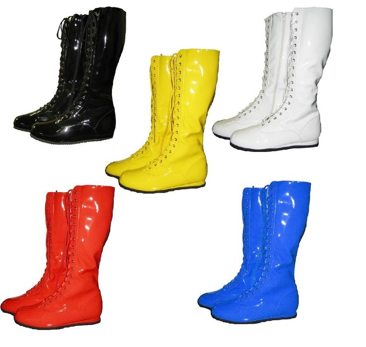 If you're putting together a professional wrestling costume for Halloween, then these Pro Wrestling Costume Men's Boots might be exactly what you're looking for.  Available in Red, Blue, White, Yellow, Black, and White, these Pro Wrestling costume boots are the perfect addition to any DIY Hulk Hogan wrestling costume or an Ultimate Warrior DIY Halloween costume.