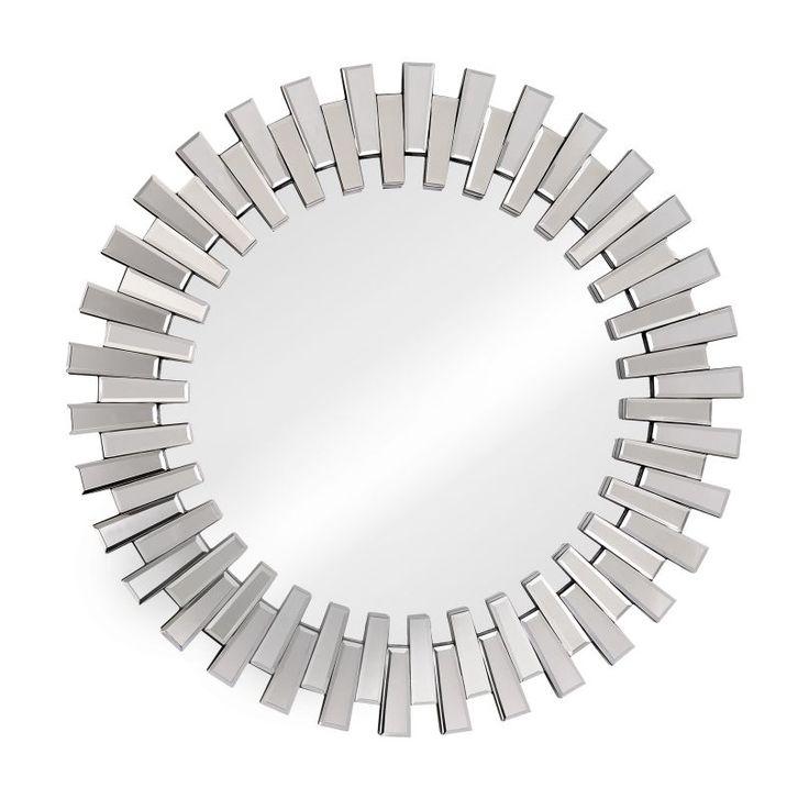 Zuo Modern Sundial Mirror Sundial Framed Sunburst Circular Mirror Clear Home Decor Mirrors Lighting