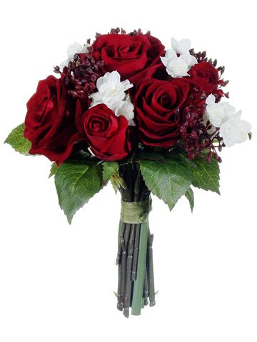 """Velvet Rose and Paperwhite Bouquet in Red and White 9"""" Tall"""
