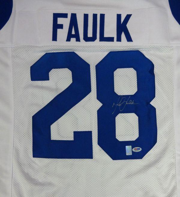 cc74eec0d55 ... Marshall Faulk Autographed St. Louis Rams White Jersey PSADNA Mens ...