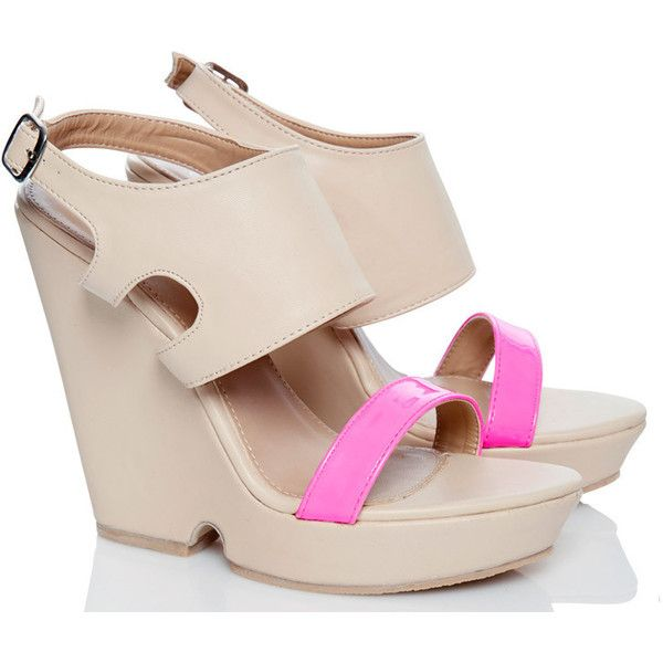 NUDE & PINK WEDGES – Fiebiger Shoes ($30) ❤ liked on Polyvore featuring shoes, nude pink shoes, wedge heel shoes, neon pink shoes, nude wedge shoes and wedge shoes