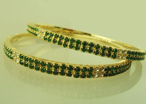 Gold plated Bangles with green and clear colored cubic zirconia-BAN405  http://www.craftandjewel.com/servlet/the-325/Gold-plated-Bangles-with/Detail